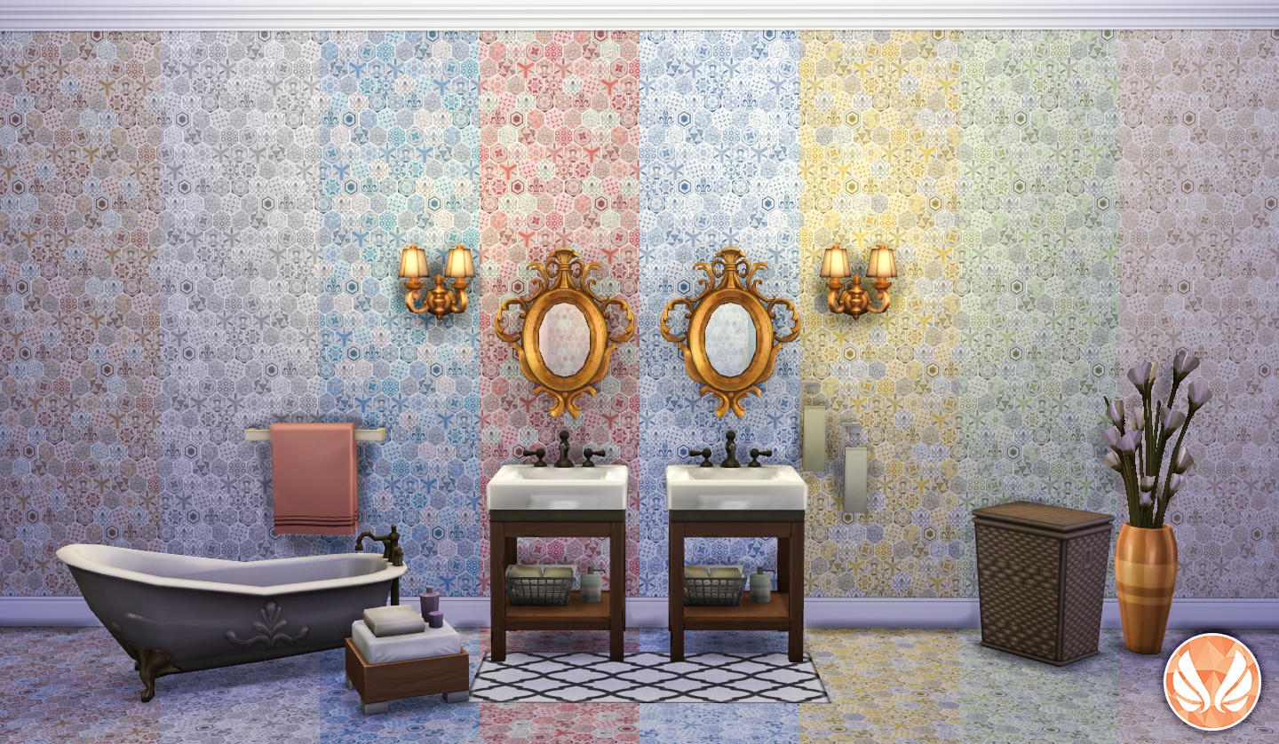 My Sims 4 Blog Classic Wall Set Eclectic Hexagon Tile