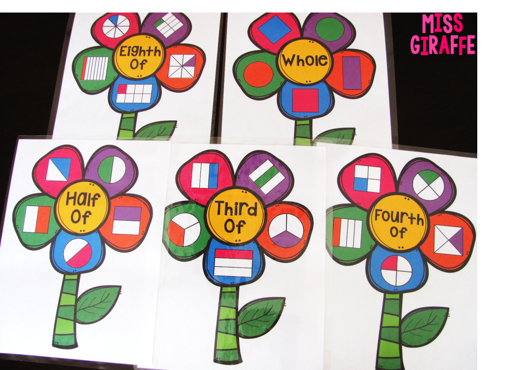Miss Giraffes Class Fractions in First Grade – First Grade Fractions Worksheets