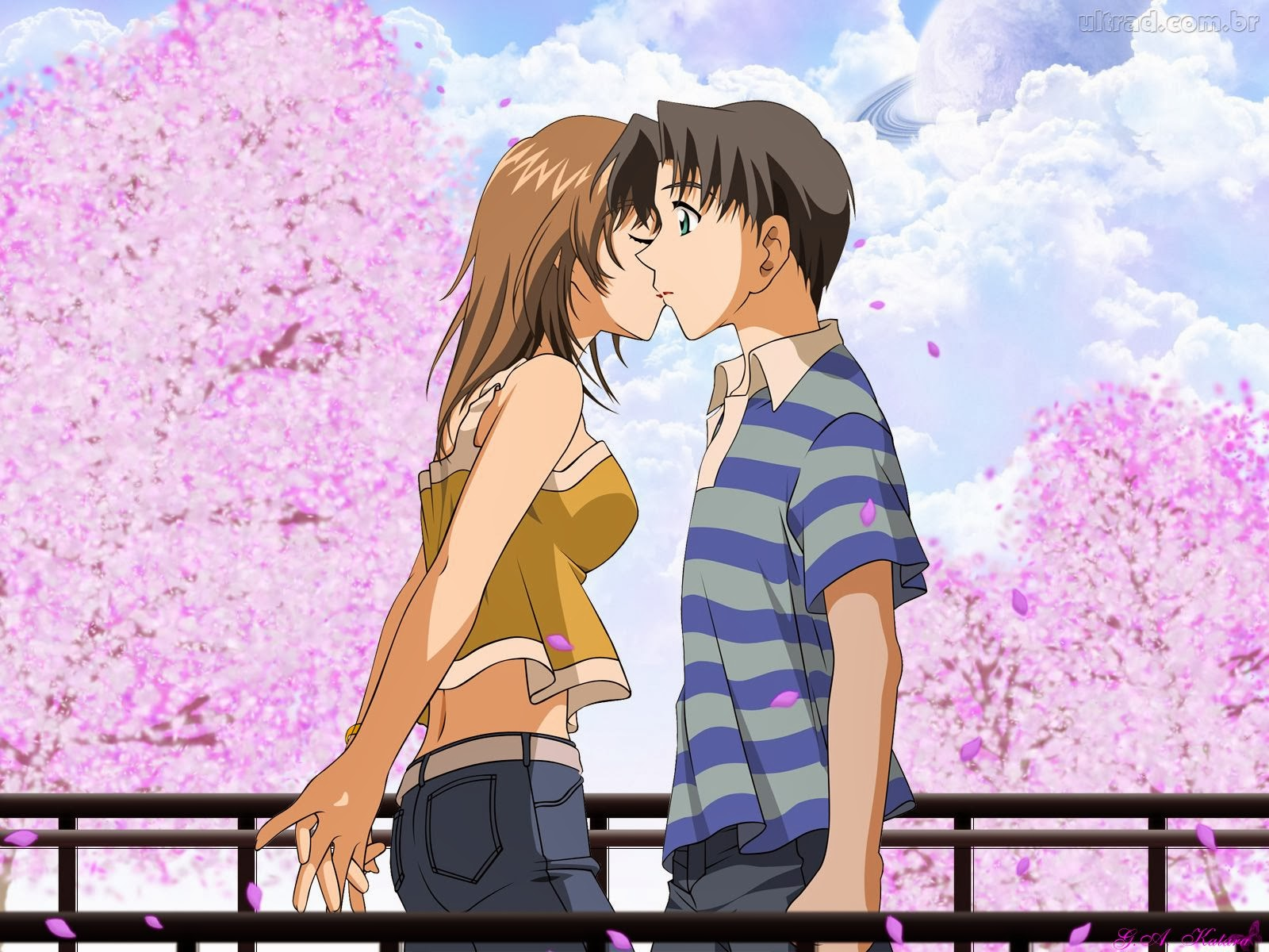Um Homem E Uma Mulher Beijando Ao Outro P Ssaros No C U