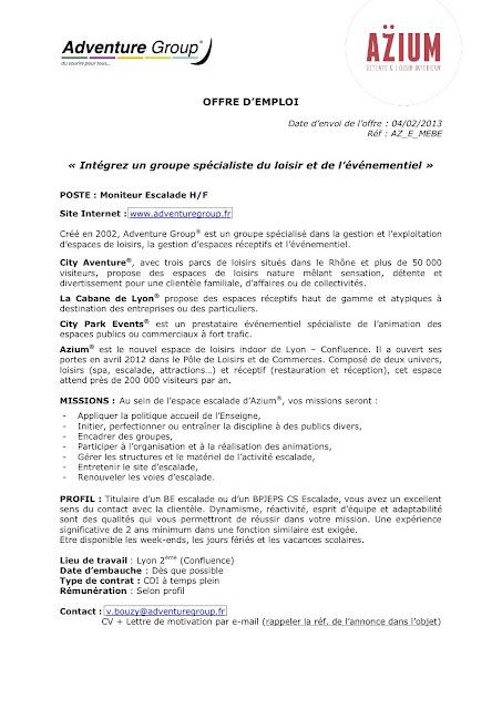centre de formation formasport - bienvenue sur le blog  offre d u0026 39 emploi moniteur escalade