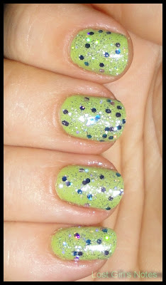 maybelline outloud lime  and NYC 105 starry silver glitter overcoat