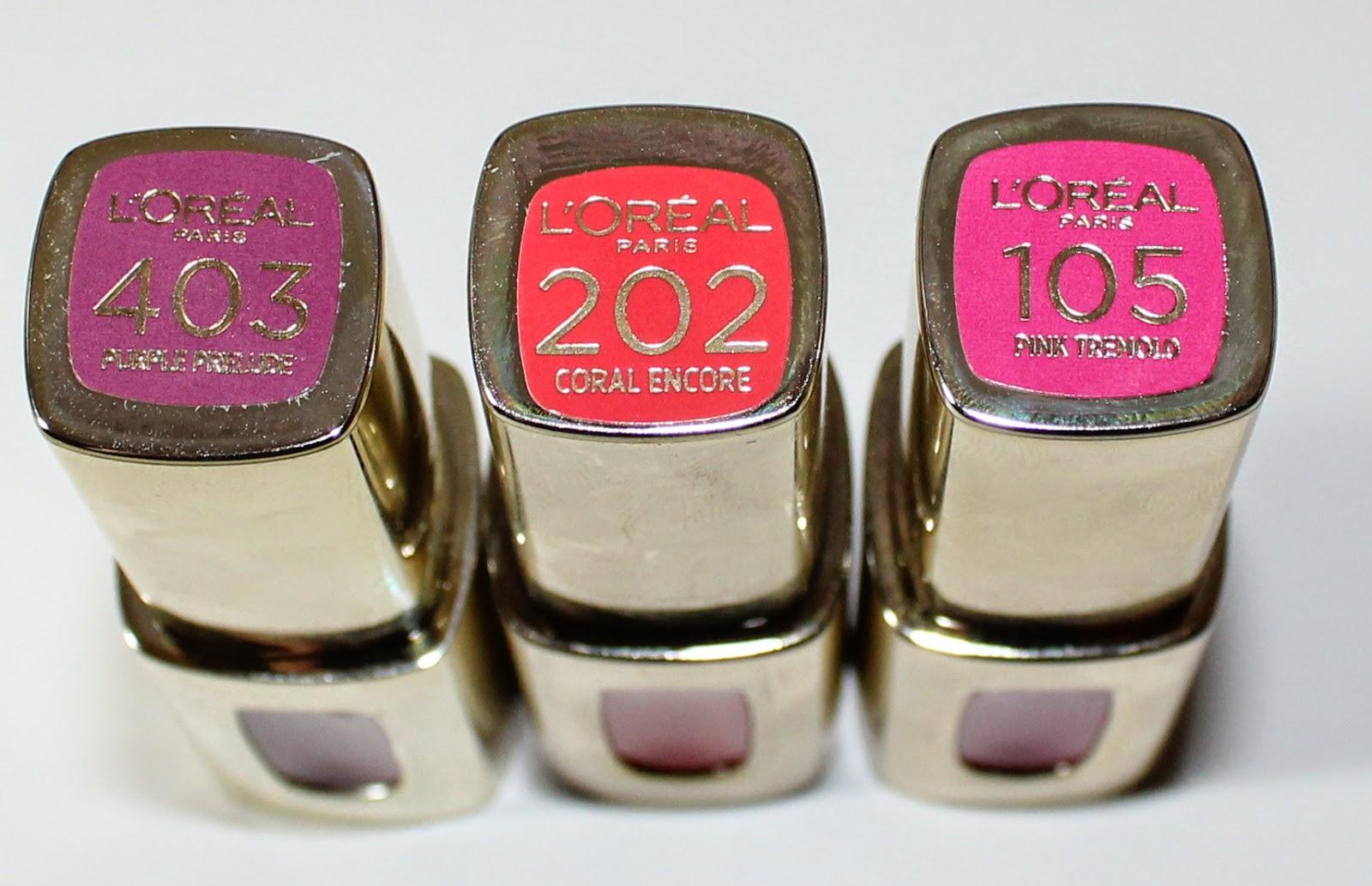 L'Oreal Extraordinaire by Colour Riche in Pink Tremolo, Purple Prelude & Coral Encore Labels