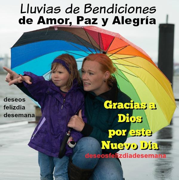 Saludos de buenos días con lluvias de bendiciones, gracias a Dios por el día, feliz viernes, frases para facebook por Mery Bracho.