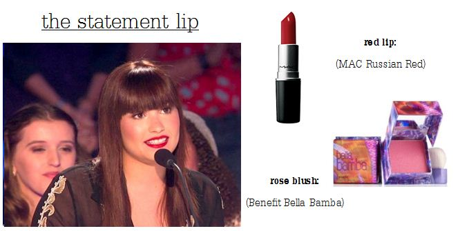Demi Lovato red lip and fringe