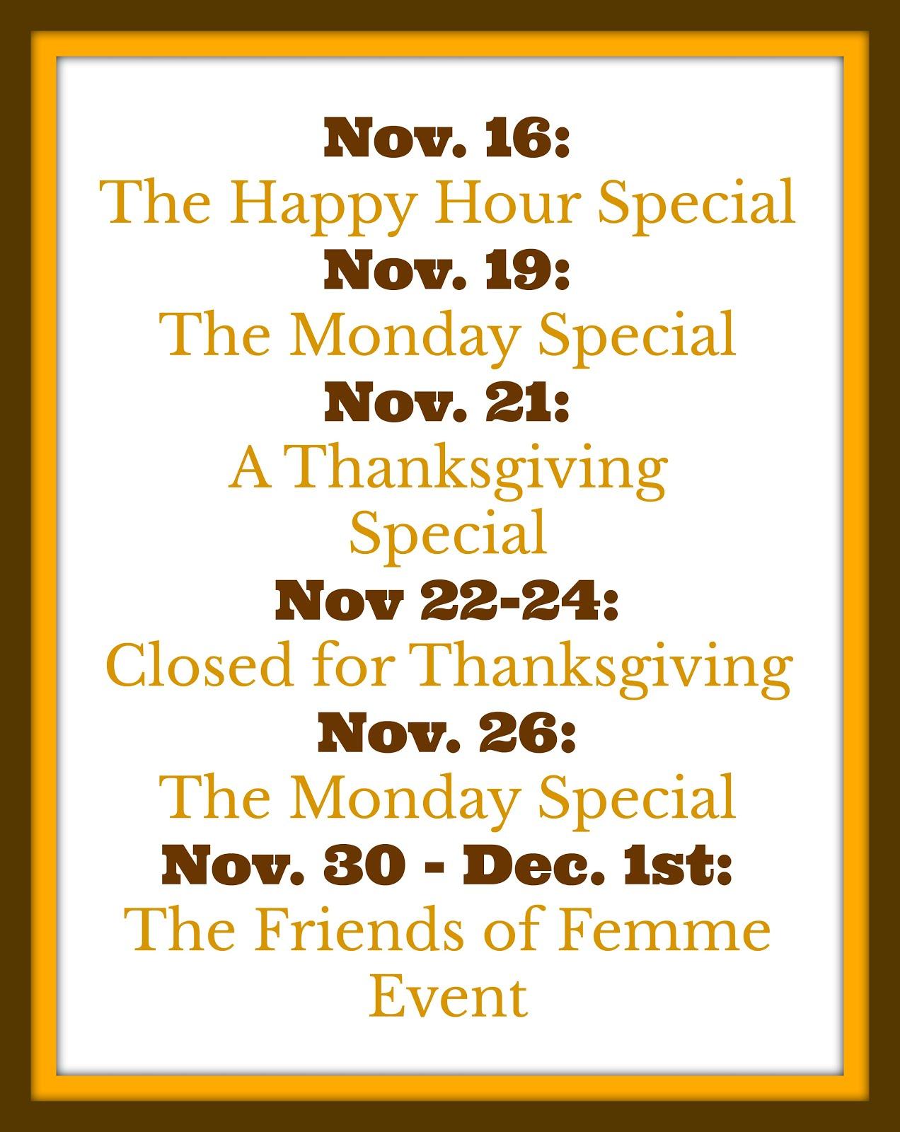 The November Calendar: