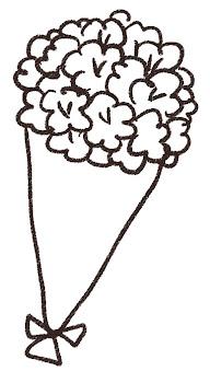 花束・ブーケのイラスト 線画