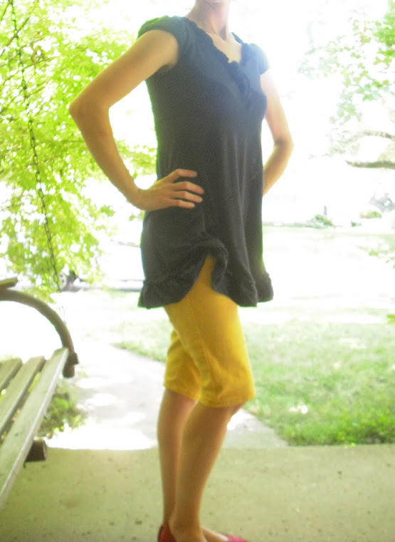 Mustard Capris/Anthropologie Blue Top