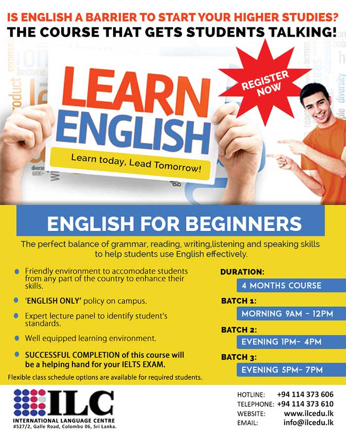 "The aim of establishing ""International Language Centre Colombo – ILC"" is mainly to educate the people on the importance of International Language Studies and offer high standard language classes and internationally recognised General Courses at affordable course fee to acquire the global resources."