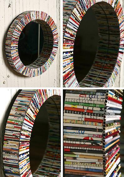 Molduras para espelhos e quadros de revistas recicladas