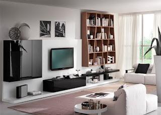 Gambar Wallpaper Ruang TV Kamar Keluarga Minimalis Klasik