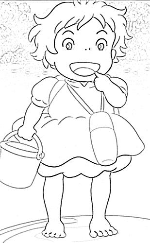 La niña marmota: Colorear para niños Ponyo