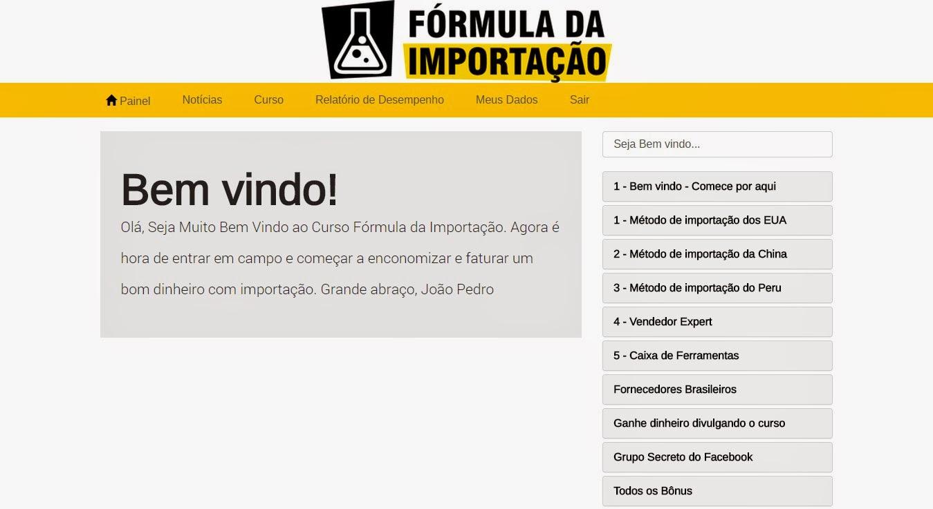 área de membros do curso Fórmula da Importação