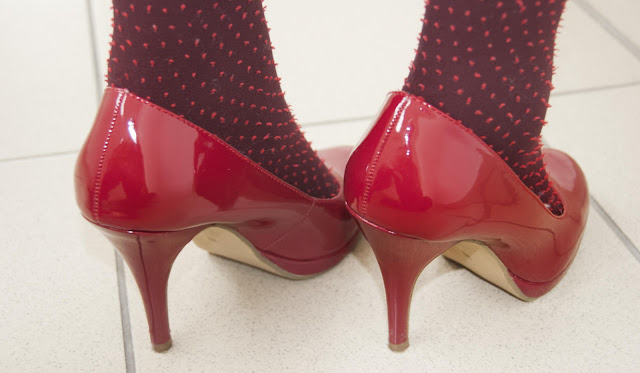 Voegele, shoes, red, dots