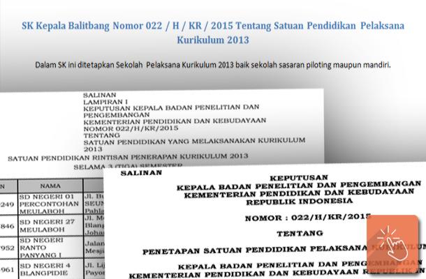 SK Kepala Balitbang Nomor 022  H KR 2015 Tentang Satuan Pendidikan Pelaksana Kurikulum 2013