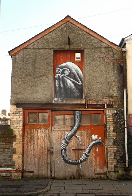 Street Art By British Artist Phlegm For The Empty Walls Festival In Cardiff, Wales. 1