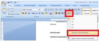 Computaci n para ni os word aplicar alineaci n e for En word cual es el interlineado