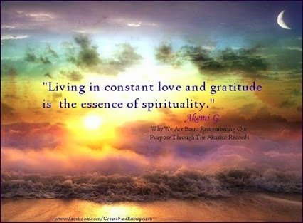 """Living in constant love and gratitude is the essence of spirituality."" ~ Akemi G Why We Are Born: Remembering Our Purpose Through The Akashic Records. Picture of a sunrise on a beach. www.facebook.com/CreateFateEnterprises"