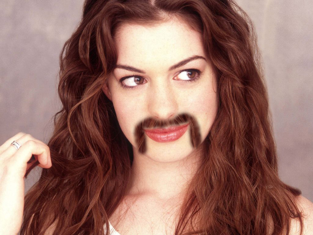 Anne Hathaway with a Mustache