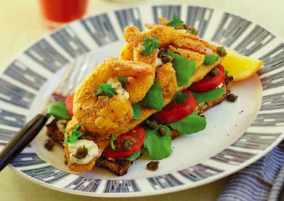 Crispy Cajun Fish and Prawn Open Sandwich with Remoulade and Fried Capers