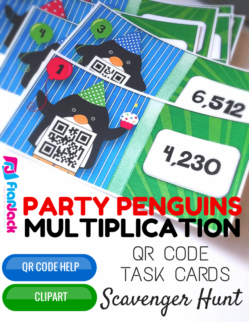 Party Penguin Multiplication QR Code Scavenger Hunt