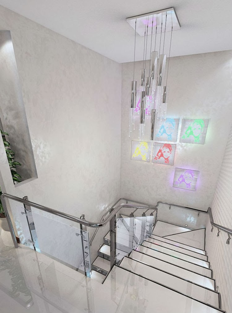 interior metal stairs with steel handrails and risers