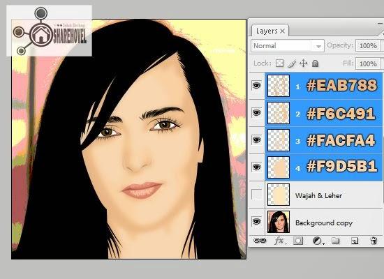 proses tracing wajah vector di photoshop - tutorial membuat vector di photoshop - membuat foto menjadi kartun dengan photoshop