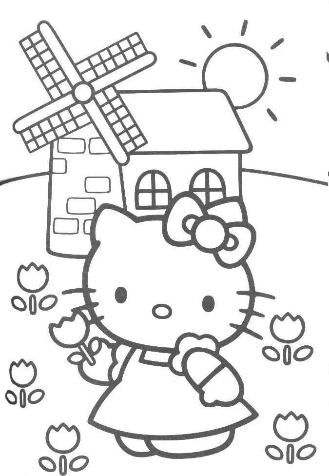 Desenhos Preto e Branco o hello kitty in Colorir