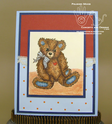 Picture of handmade Lace Embellished Teddy Bear Card