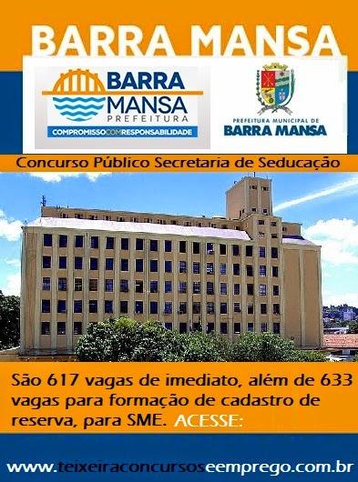 Inscrições Concurso Público Prefeitura de Barra Mansa-RJ 2014