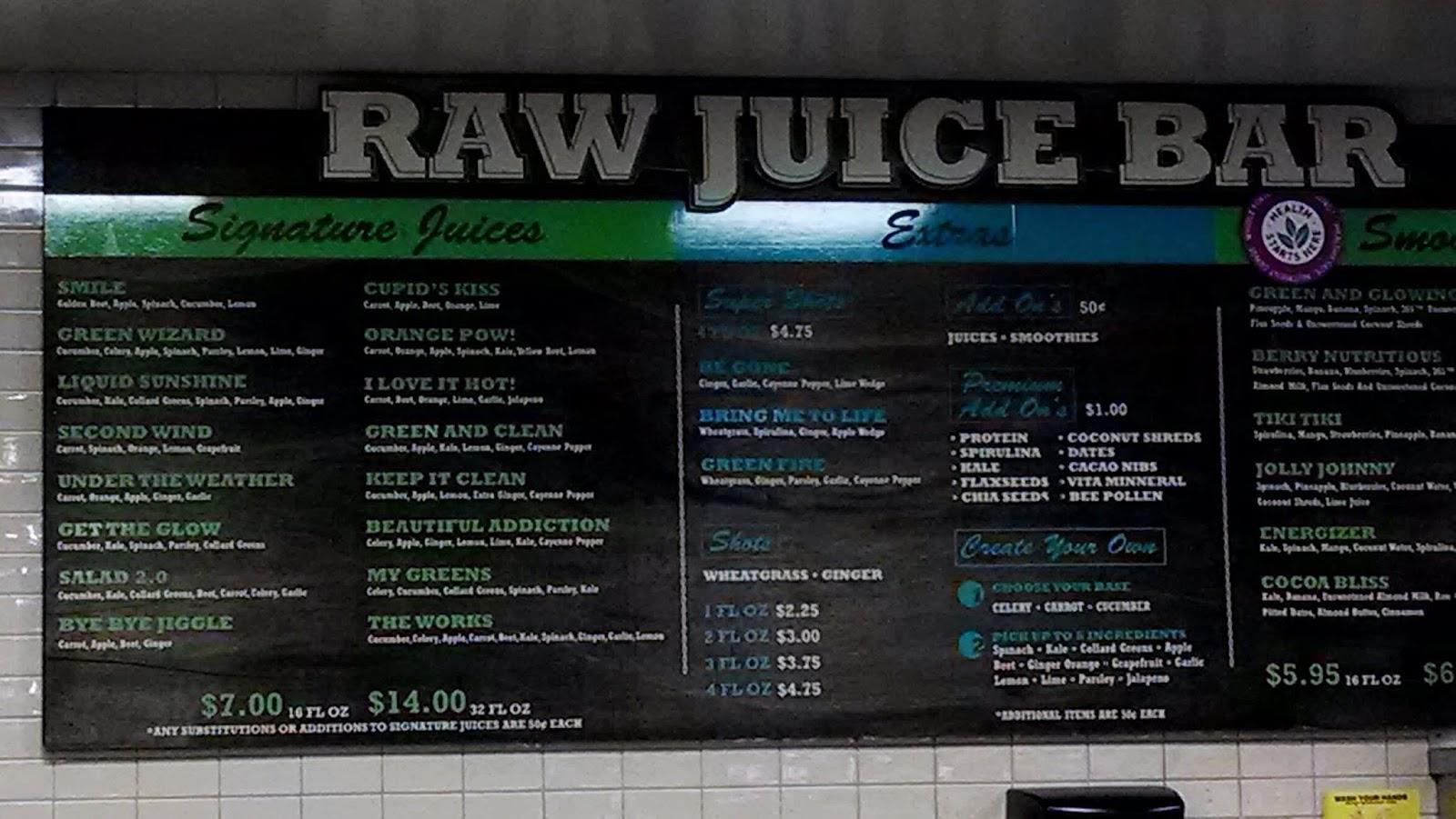 Vc menu whole foods market tarzana for Whole food juice bar menu