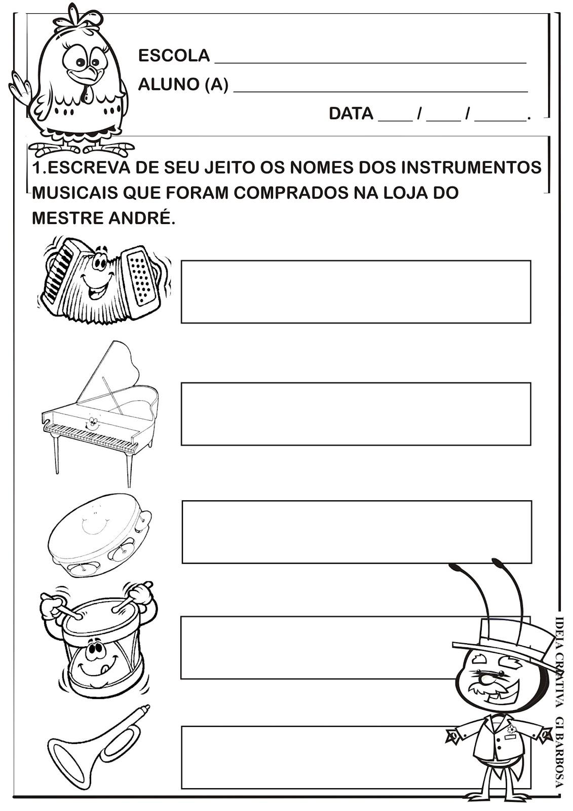 Atividade Auto Ditado A Loja do Mestre André Galinha Pintadinha
