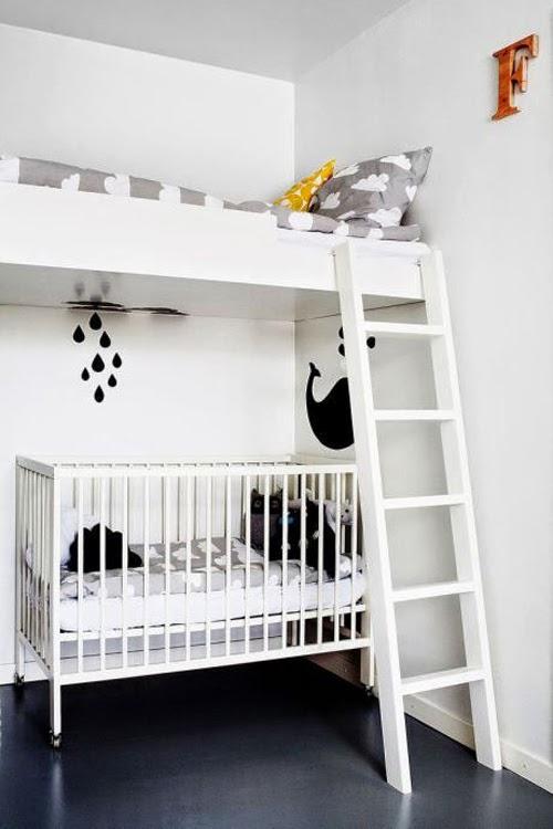 Ideas para espacios pequeños. Cuna con cama en altillo.