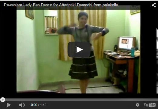 Pawanism Lady Fan Dance for Attarintiki Daaredhi from palakollu
