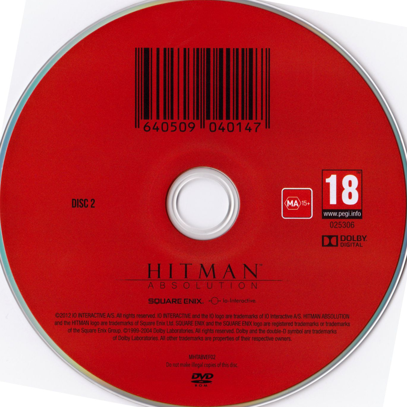 Label Hitman Absolution Disc 2 PC