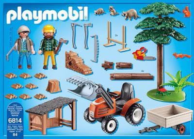 TOYS : JUGUETES - PLAYMOBIL Country  6814 Leñadores con tractor   Producto Oficial 2016 | Piezas: 84 | Edad: 4-10 años  Comprar en Amazon España