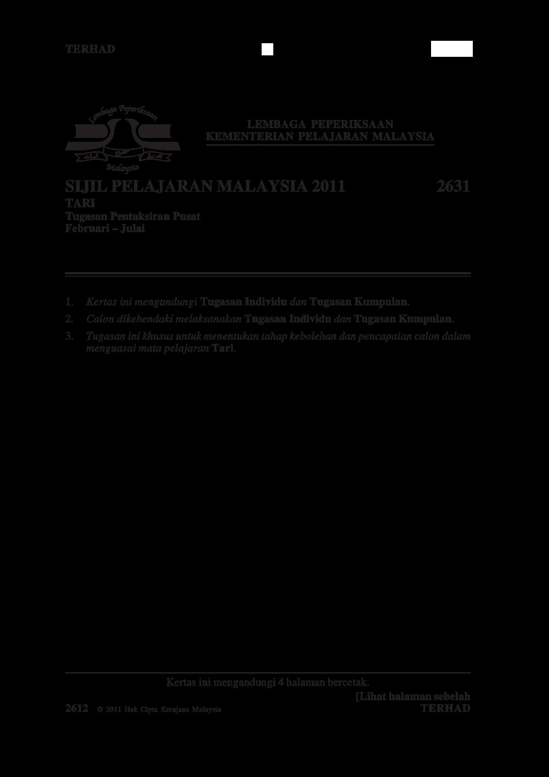 SPM Standard : Soalan Kerja Kursus Seni Tari