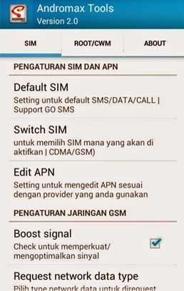 Menu SIM Andromax Tools version 2.0