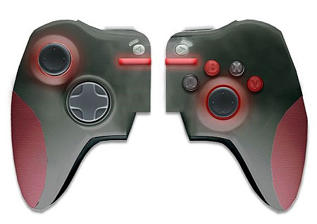 Image of The Synaps split controller joypad mock-up, intended for Xbox 360 and PS3.