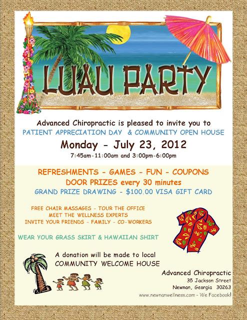 Luau Party at Advanced Chiropractic, Newnan GA