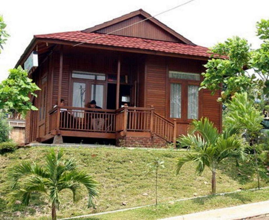 model rumah kayu puncak tampak depan
