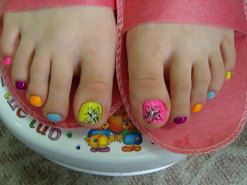 Rainbow Toe Nail Designs