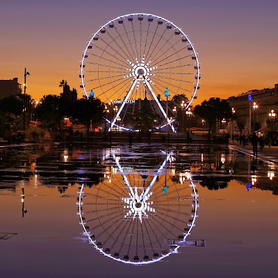 Ferris Wheel, Water, Reflection, Nice,  France, Enjoyment, Fair, Jhula, Offbeat, Night, Light,