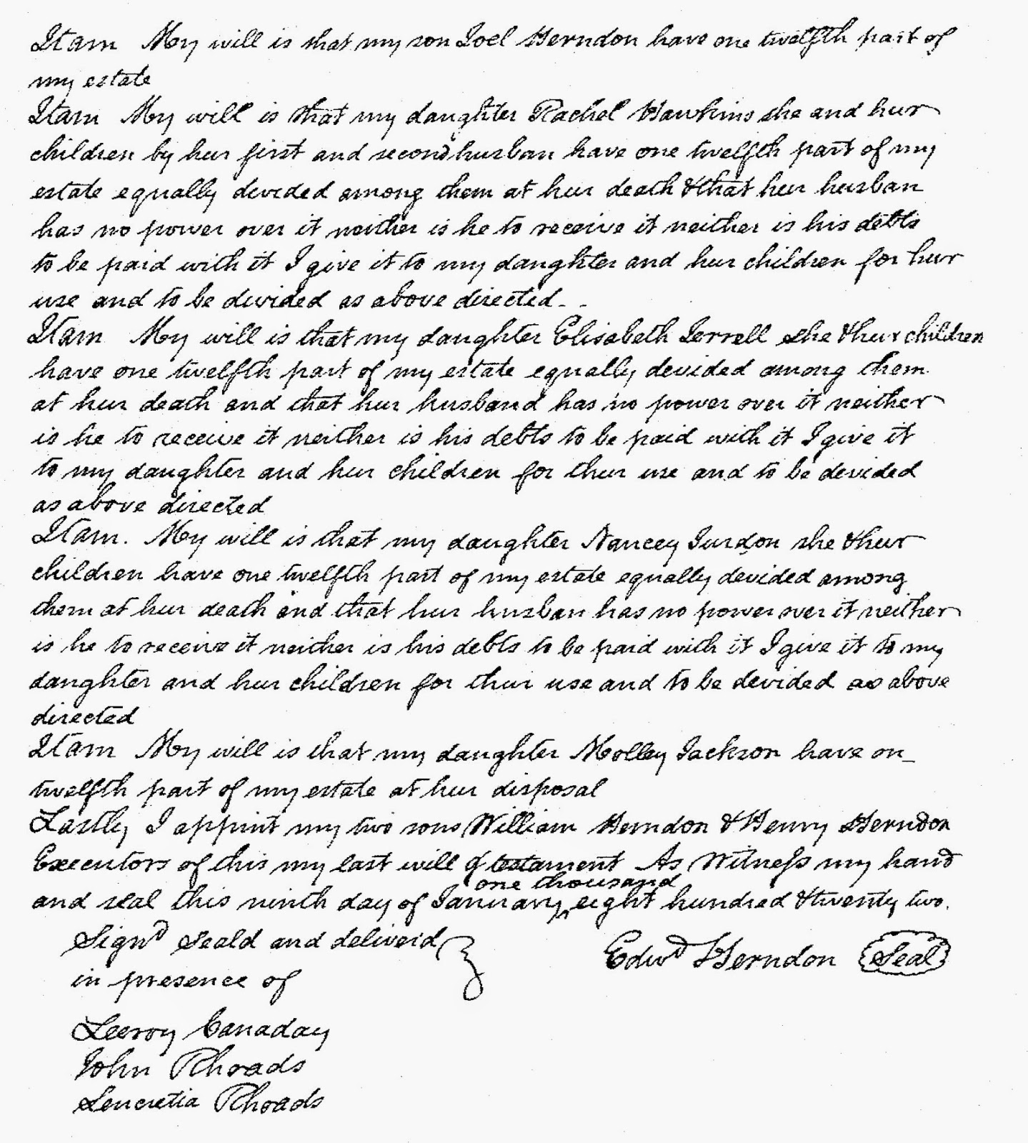 Will of Edward Herndon, Madison Co, Virginia dated 1822  http://jollettetc.blogspot.com