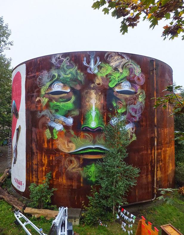 Wesr crea mural de rostro de fantasma para Festival Fokus en Alemania