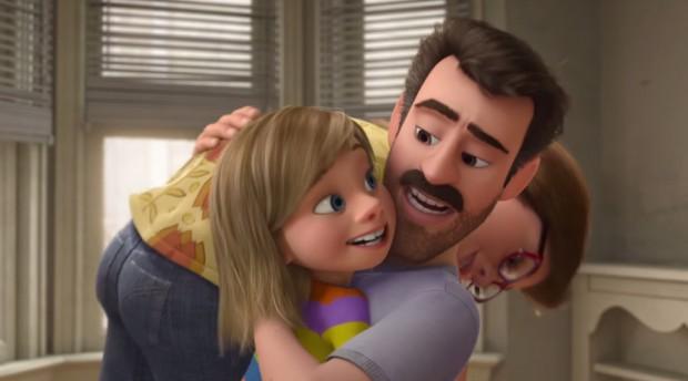Riley y sus padres en Inside Out (Del Reves)