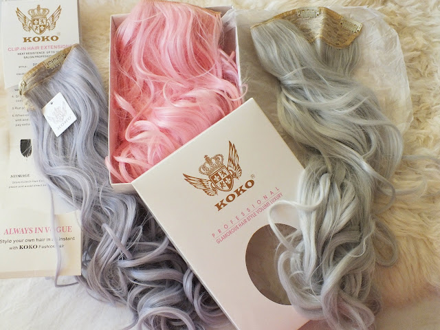 pastel pink lilac silver hair extensions