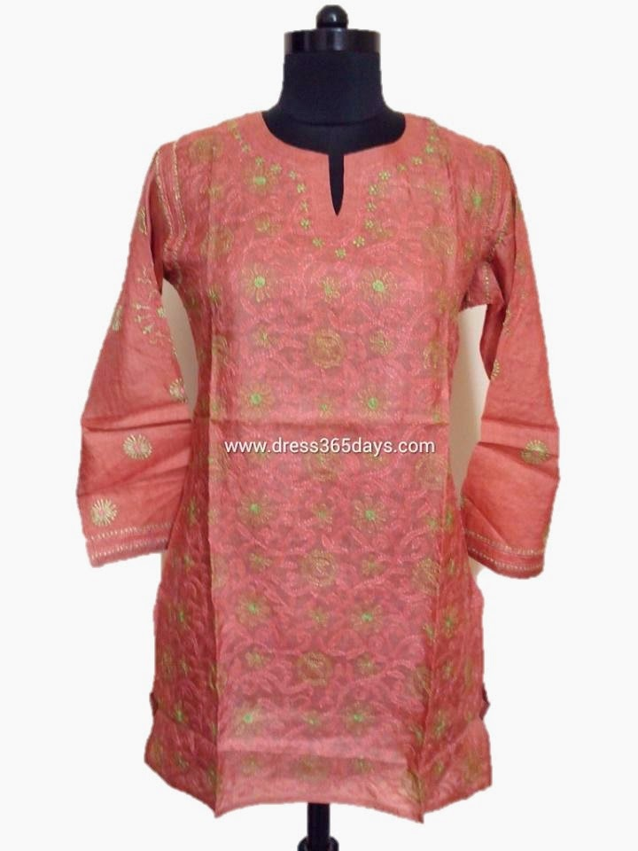 Rust Colour Tussar Silk Kurti Online