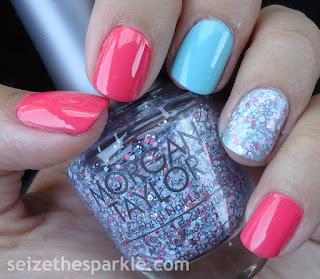 Coral, Mint, Glitter Manicure