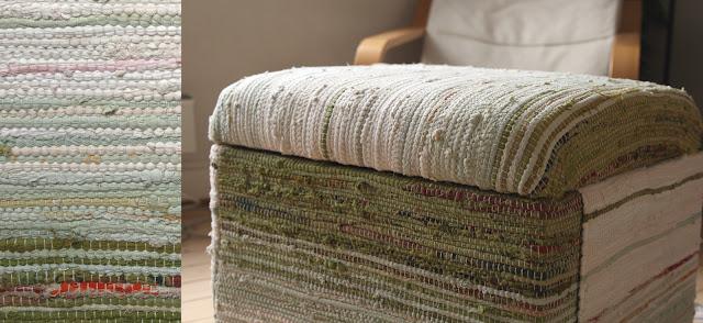 homemade footstool furniture design DIY pouffe rag rug