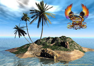 Desktop wallpapers Harley Davidson Fire Bird Logo in 3D Island desktop wallpaper